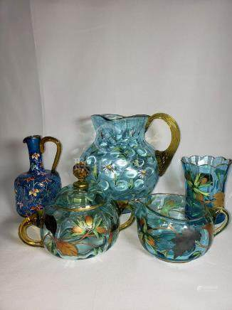 Lot Of 5 Antique Bohemian / Moser Glass Enamel Paint