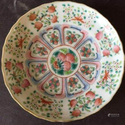 Fine Chinese Famille Rose Plate with Peaches 19th C