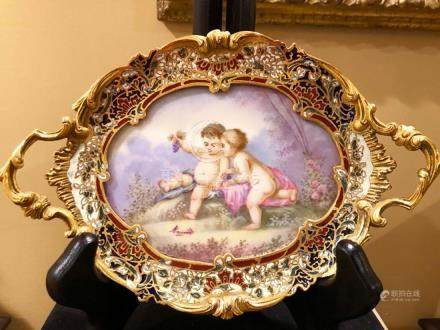 Finely Painted French Champleve Bronze Plaque 19 c