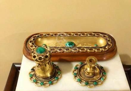 Russian gold ormolu bronze desk set 1870