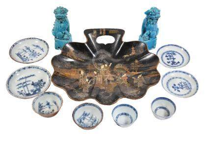 Nanking Cargo- two pairs of Chinese blue and white teabowls and saucers, Qianlong