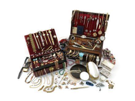 A red jewellery casket and a wooden jewellery casket containing various items of jewellery,