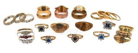 A mixed quantity of twenty six rings, including twelve plain gold rings, and eleven gem-set and