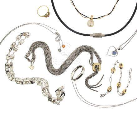 A mixed group of jewellery including a fancy link silver necklace, a ruby and diamond-set gold ring,