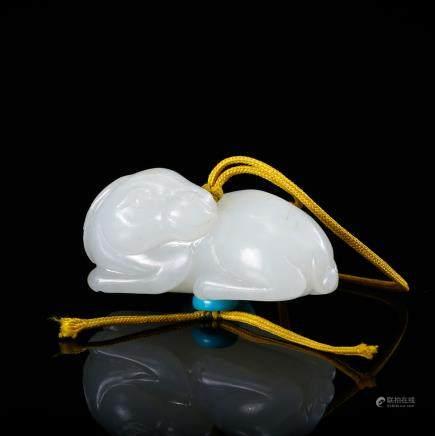 CHINESE WHITE JADE BEAST PENDANT