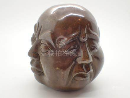 Brass four faced Buddha figurine H: 12 cm