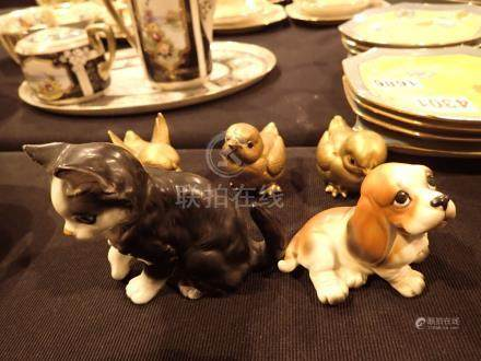 Three Noritake gilded chicks a cat and a dog