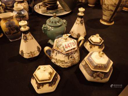 Seven Noritake hand painted lidded pots