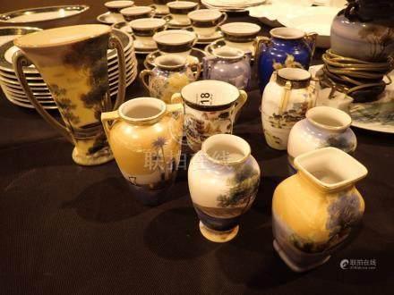 Ten Noritake hand painted vases tallest H: 17 cm