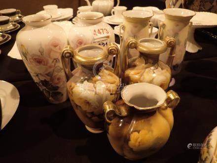 Seven Noritake vases tallest H: 21 cm