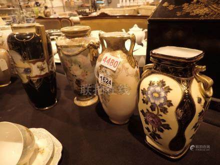 Three Noritake vases and hand painted vase
