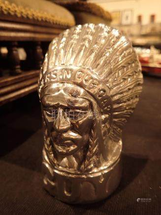 Chromed Red Indian head figurine H: 12 cm