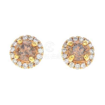 A pair of coloured diamond and diamond earrings.