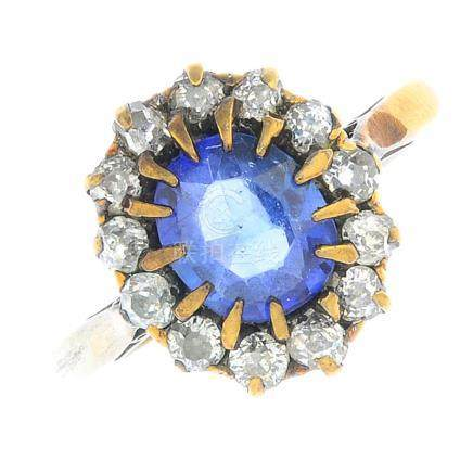An early 20th century 9ct gold sapphire and diamond cluster ring.