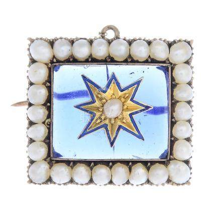 A late Victorian gold split pearl, paste and enamel brooch.