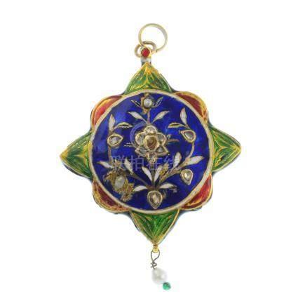 An enamel, diamond and gem-set pendant.