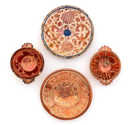 Four pieces of Hispano Moresque pottery, 16th century and 18th century