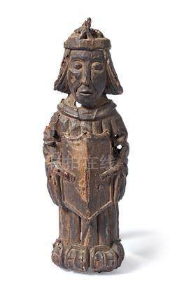 A rare 15th century carved oak angel mount or corbel, South-West England