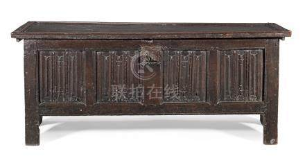 A rare mid-16th century joined and boarded oak linenfold-carved coffer, English, circa 1550