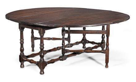 An exceptionally large joined oak gateleg dining table, English, circa 1700-20 and later