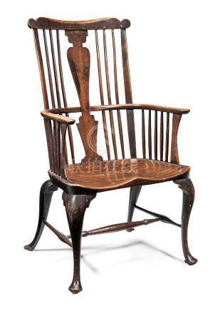 A rare and large George III cherry-wood, walnut and elm comb-back Windsor armchair, Thames Valley, circa 1760 In the manner of John Pitt (d.1759) and Richard Hewett (d.1777)