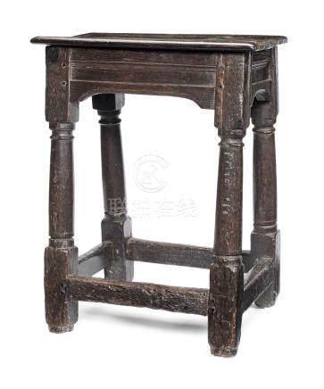 A Charles II oak joint stool, circa 1660