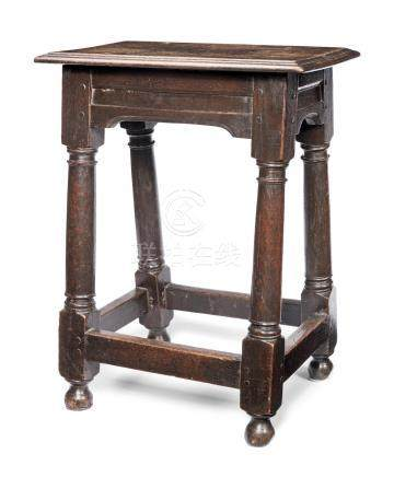 A Charles II oak joint stool, circa 1670