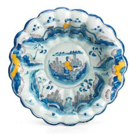 A Brislington delftware moulded dish or shallow bowl, circa 1680-85