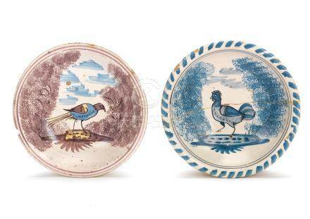 Two small delftware chargers, early 18th century