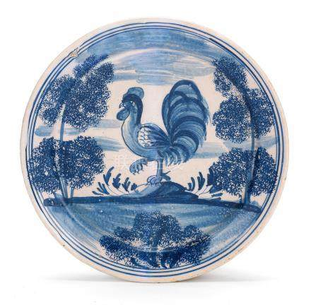 A London delftware 'Farmyard' plate, circa 1720