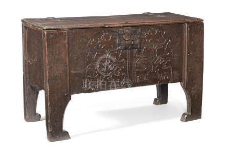 An Elizabeth I oak boarded 'clamp-front' chest, Welsh Borders, circa 1600