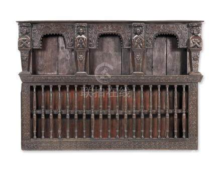 A mid-17th century joined and boarded oak mural cupboard, Yorkshire, circa 1640 - 60