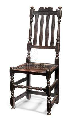 A William & Mary joined oak slat-back side chair, circa 1690
