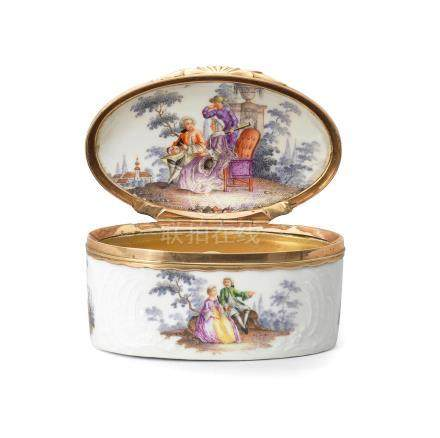A German gilt metal mounted oval snuff box 19th century