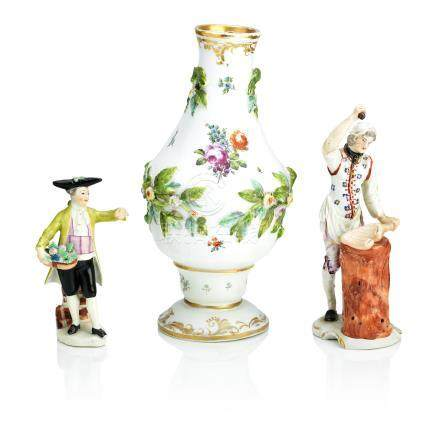A Vienna vase, a Ludwigsburg figure of a butcher, a Vienna figure of a gentleman Circa 1760-1775