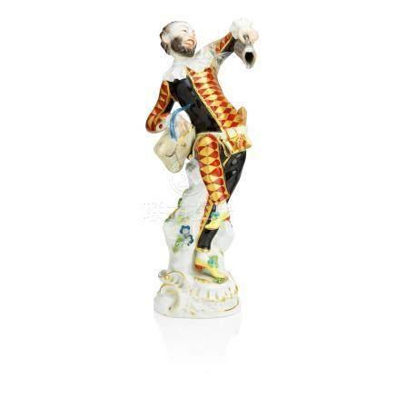 A Meissen figure of Harlequin dancing Post-war