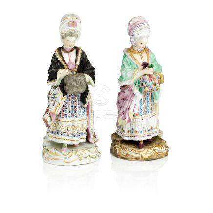 Two Meissen female figures both modelled as 'The Racegoer's Companion 19th century