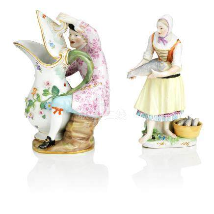 A Meissen figure of a female fish seller Mid 18th century