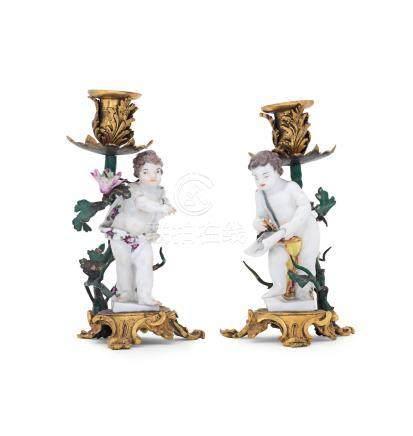A pair of Meissen ormolu mounted candelabra 19th century