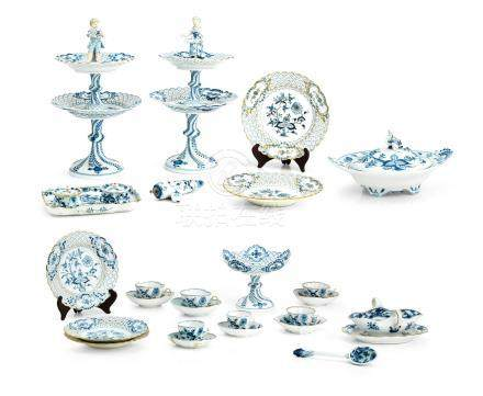 A collection of Meissen 'Onion' pattern porcelain 19th and 20th century