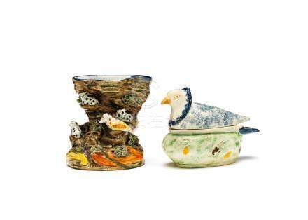 A creamware figure, a Prattware vase and a pigeon tureen and cover Circa 1765-1800