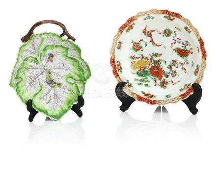 A Worcester leaf dish and a Worcester plate Circa 1755-70