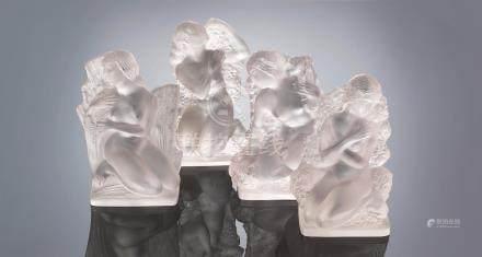 René Lalique (French, 1860-1945) A Set of Four 'Surtot Quatre Saisons' Statuettes: Printemps, Été, Automne, and Hiver