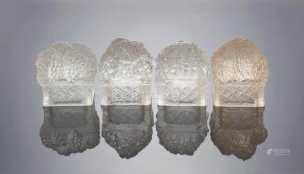 René Lalique (French, 1860-1945) A Set of Four Table Ornaments: Printemps, Été, Automne, and Hiver