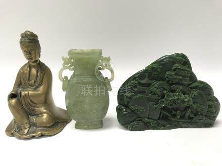 A Chinese jade vase, lacking cover and a jade type hardstone carving together with a bronzed figure.