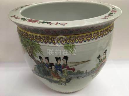 A 20th Century late republic Chinese jardiniere decorated with script and figures in a garden