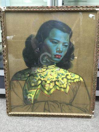 A framed a glazed print Chinese girl green , by Vladimir Trechikoff approx 50 cm x 60 cm.