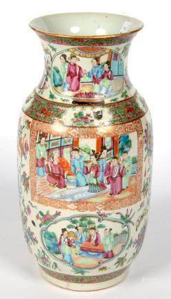A CANTON FAMILLE ROSE VASE, 35CM H, LATE 19TH C