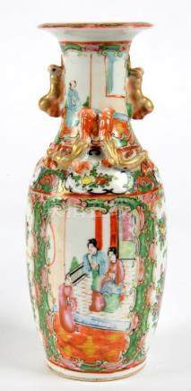 A CANTON FAMILLE ROSE VASE, 25CM H, EARLY 20TH C AND A CHINESE TURQUOISE GROUND FAMILLE ROSE VASE,