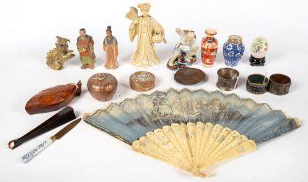 A COLLECTION OF MINIATURE JAPANESE AND CHINESE WORKS OF ART IN VARIOUS MATERIALS